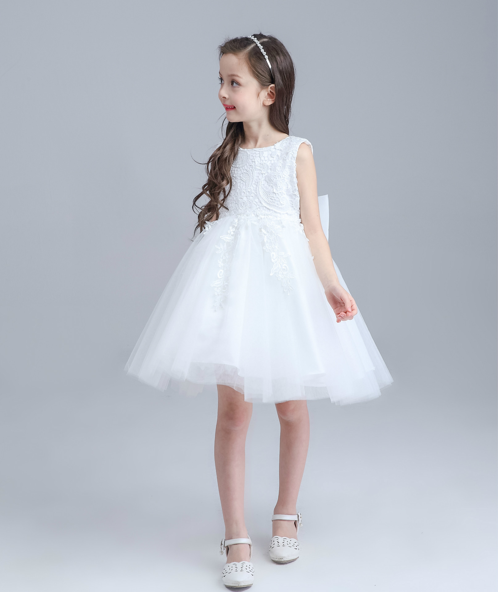 High end Formal Baby Girls Dress Tutu White Sleeveless Beautiful