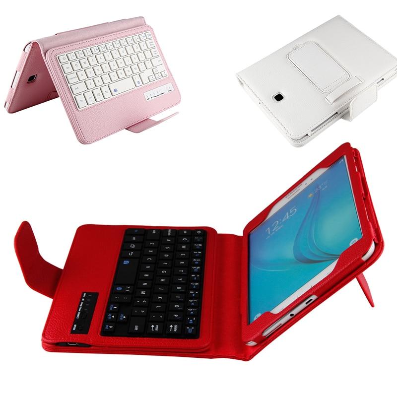 Luxe Tablette étui pour Samsung Galaxy Tab A 8.0 T350 Amovible Clavier Bluetooth Flip PU Housse En Cuir pour Samsung T355