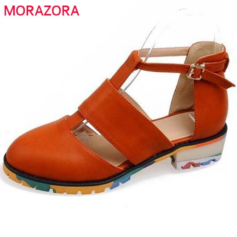 0f14f13e4 MORAZORA الأزياء مثير النساء الصنادل الكاحل حزام عالية الجودة والجلود  الناعمة امرأة الأحذية المسطحة الملونة أسفل منصة عارضة أحذية