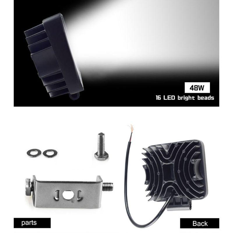 Машинка для стрижки 48 Вт Vehicel головной светильник s 16 светодиодный s холодный белый Светодиодный светильник бар 4 дюйма автомобиля рабочий св...