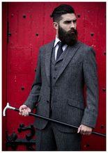 Mais recente Projeto Casaco Calça Cinza Tweed Italiano Ternos de Casamento Dos Homens Smoking Formal Slim Fit Blazer Magro 3 Peça Perfume Masculino F