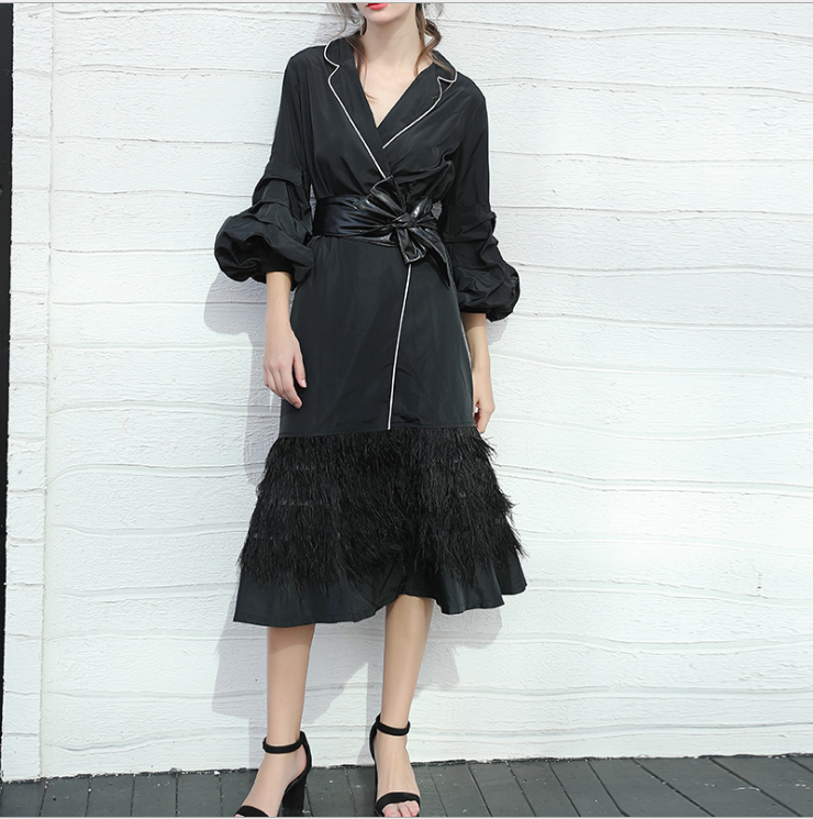 Cakucool Women Slim Black   Trench   Coat Spring Ostrich Feather Patch Long Puff Sleeve Windbreaker Bow Ties Elegant Runway Trenchs
