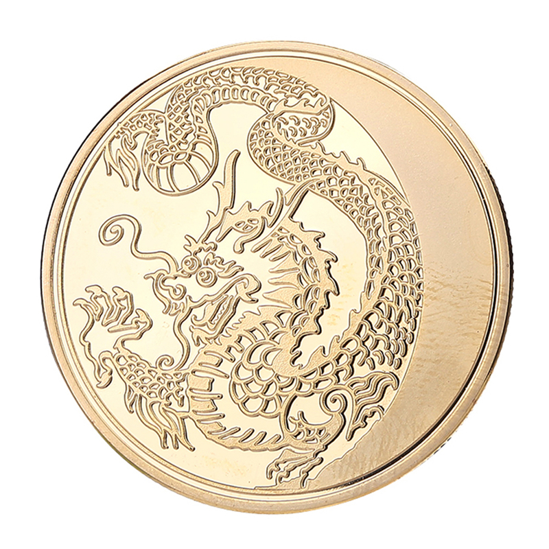 Russia Lunar Zodiac Dragon Gold Plated Commemorative Collection Memorial Coins