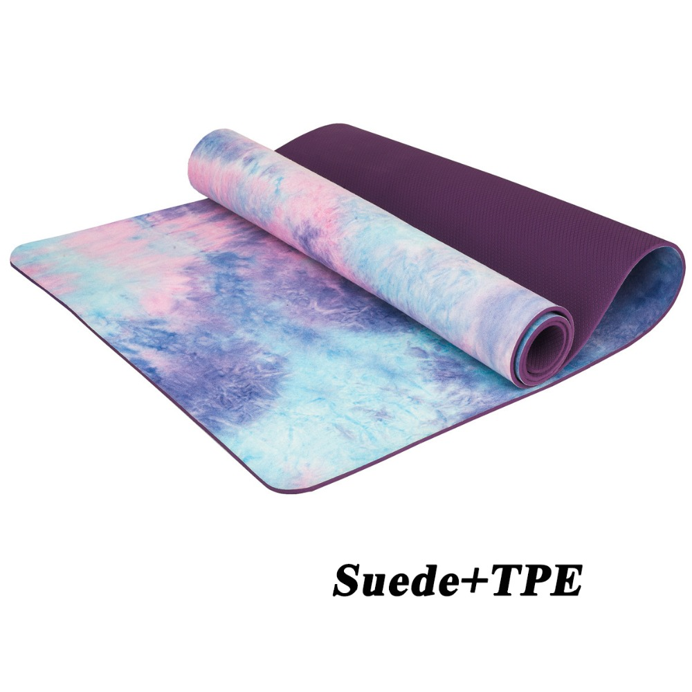 Professional Suede Natural TPE Hot Yoga Mat 5MM Thick Anti Slip Sweat Printed Pilates Exercise Mat Sports Mats Dance Fitness Pad printed yoga mat travel mat 183 61 0 15cm anti slip foldable yoga pilates pad exercise mats for gym fitness sports dance cover