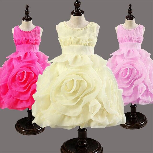 Девушки Платья детские Платья Принцесс плиссе шею свадебные Дети Платье девушки цветка костюм партии производительности