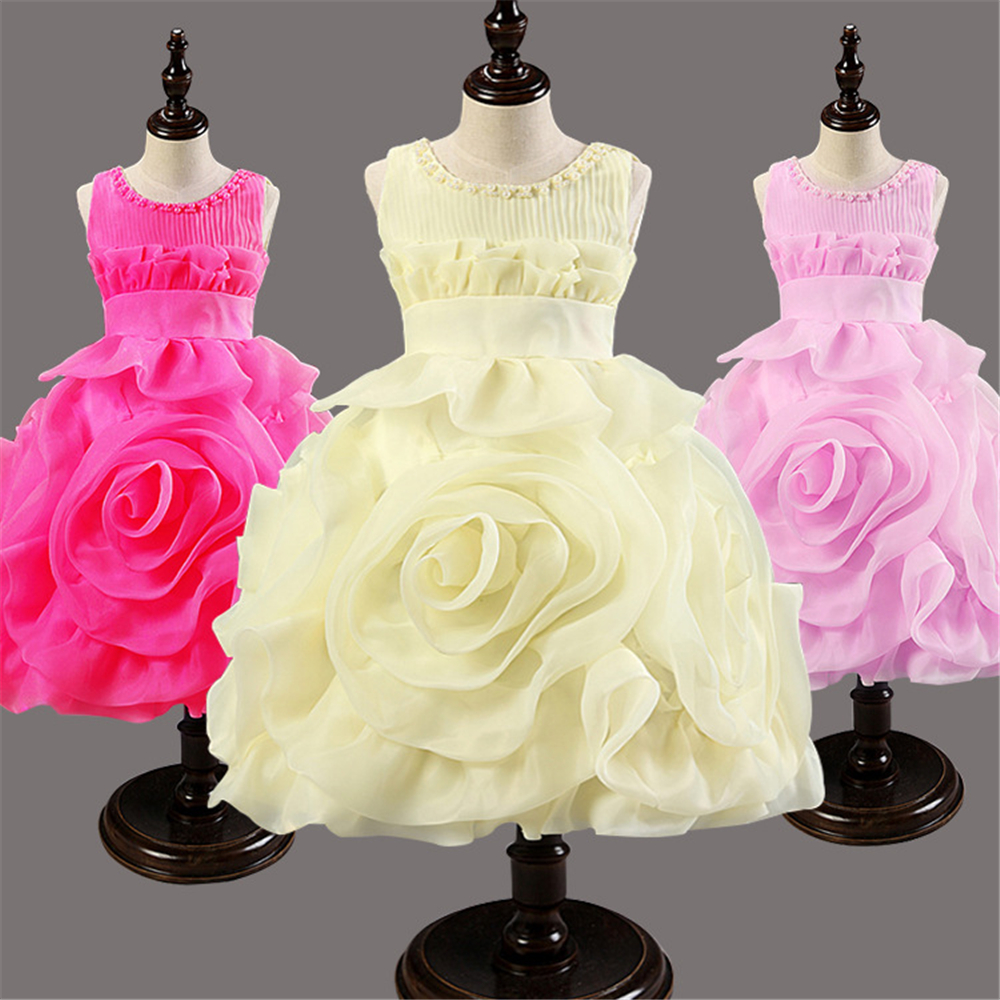 2016 Childrens Princess Dresses pleated round neck wedding Kids Girls Dress flower party costume kids dresses for girls
