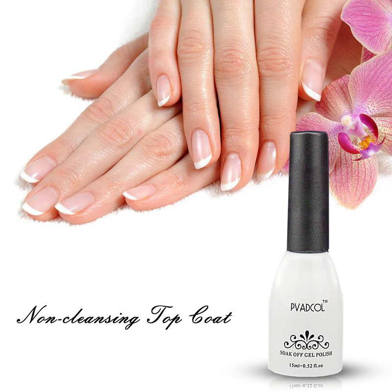 PVADCOL Esmalte de gel No Limpiador Top Coat Soak Off UV Nail Art - Arte de uñas