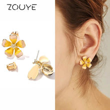 ZOUYE Honeybee Flower Stud Earring Asymmetric Fairy Lovely Cute Romantic Shine Blink Fashion Jewelry Cubic Zirconia Earrings(China)