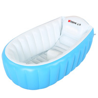 Portable Baby Bathtub Inflatable Bath Tub Child Tub Cushion + Foot Air Pump Warm Winner Keep Warm Folding Portable Bathtub