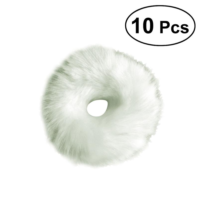 10 Pcs Cute Artificial Fur Pom Pom Ball Hair Tie Rope Rubber Bands Elastic Ponytail Holders (White)