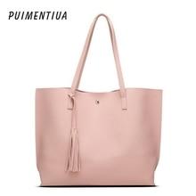 Puimentiua Women Messenger Bags Leather Casual Tassel Handbags Female Designer