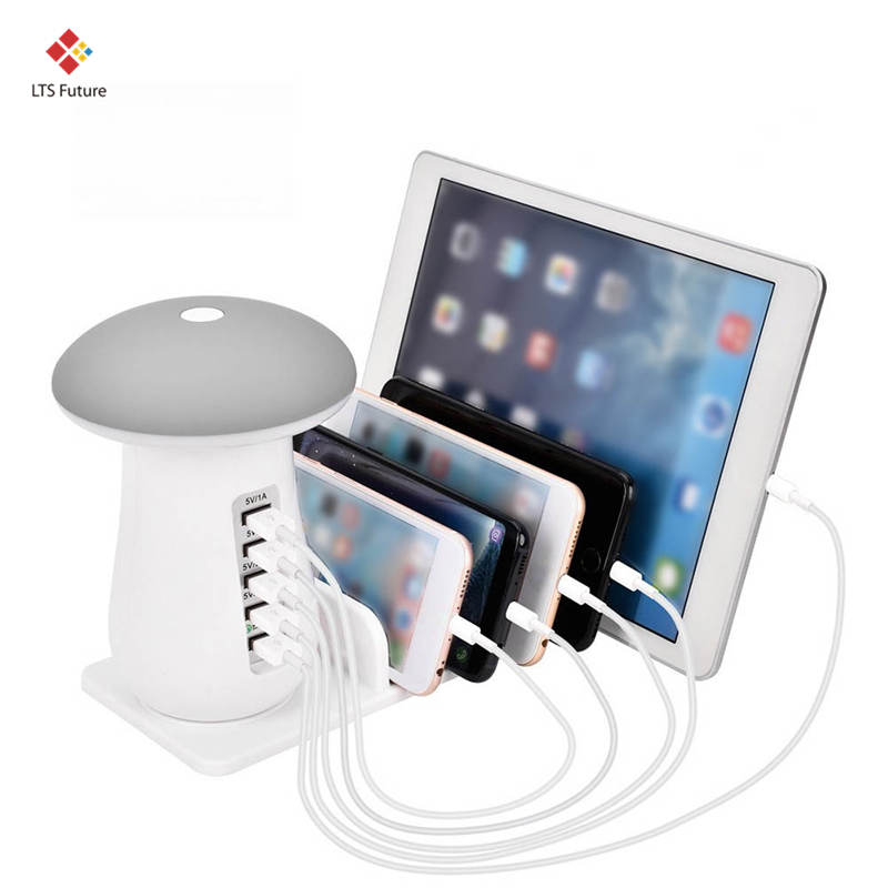 Multi 5 de carga del puerto de carga Tablet Dock de carga rápida QC 3,0 Estación de escritorio lámpara múltiples Usb rápido cargador de teléfono de la UE nos reino Unido es macho regalo