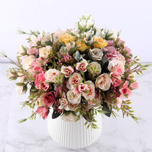 fake roses artificial flowers high quality bouquet hydrangea gypsophila leaf accessories for christmas home wedding decoration(China)