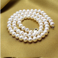 Classic Handmade real pearl necklaces 45cm length Natural pearl AAA 9-10mm highlight pearl necklaces gifts for women Jewelry