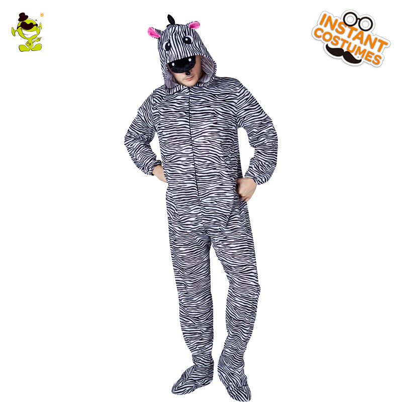 Adult Mens Zebra Pajama Costumes Cosplay Animal Sleepwear Night Onesize Nightclothe Role Play Zebra Costume Pajama Jumpsuit