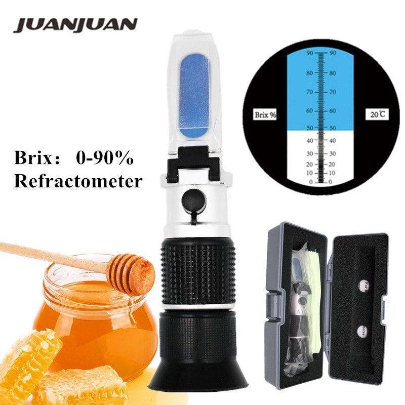 0-90% Brix Handheld Refractometer with Box ATC sugar Optical Instruments Fruit Sauce Meter 20%Off