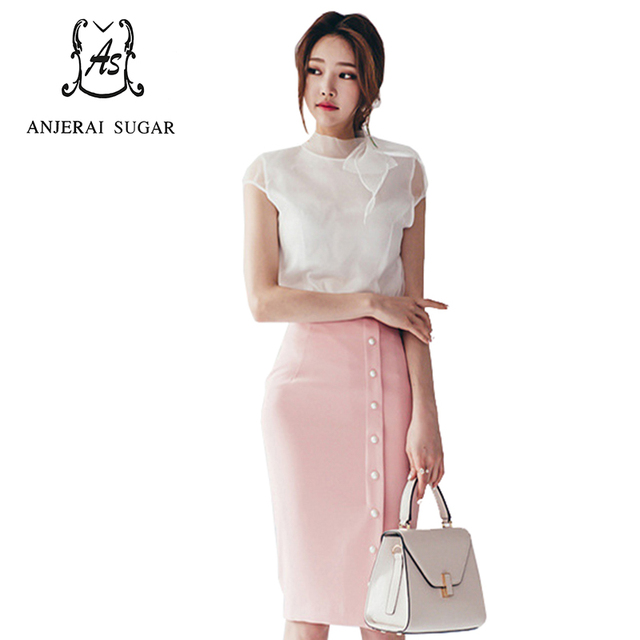 Summer Women suits Sexy white bowknot Chiffon shirt and pink high-waisted Button Split ends OL office Package hip Bodycon skirt