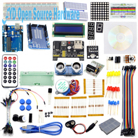 New Starter Kit Step Motor Servo 1602 LCD Photoresistor HC SR04 Battery Clip Breadboard Jumper Wire