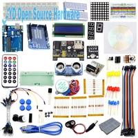 New Starter Kit Step Motor Servo 1602 LCD Photoresistor HC SR04 Battery Clip Breadboard Jumper Wire