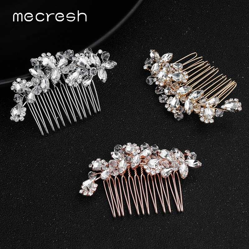 Mecresh Marquise Crystal Women Wedding Hair Combs Bridal Hair Accessories Princess Tiaras Headpiece Hair Jewelry 3 Colors FS266