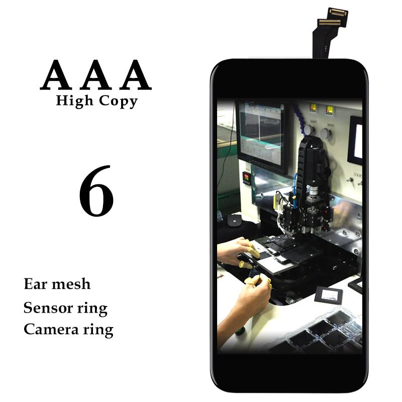 imágenes para 10 UNIDS Sin Píxeles Muertos LCD Para iPhone 6 Pantalla LCD Con Digitalizador Táctil de Cristal Asamblea + sensor de soporte cameral titular AAA