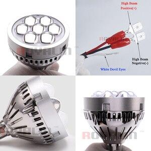 Image 3 - Royalin Auto Led Grootlicht Projector Koplampen Lens Met Devil Eyes Motorfiets Verlichting Voor H1 H4 H7 9005 Lampen Retrofit diy