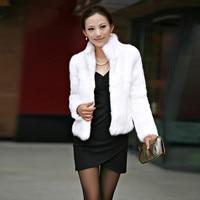 Women Winter Spring Warm Coat Ladies Elegant Solid Imitation Short Faux Fur Fox Coat Slim Collar Jacket Parka Outerwear Manteau