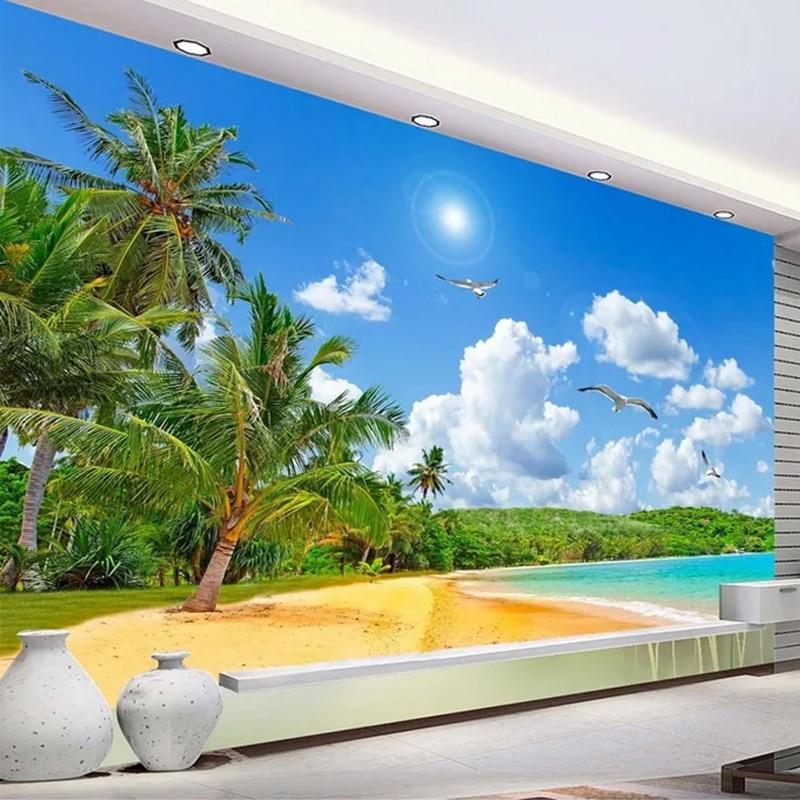 Hot Sale Custom Any Size Wall Mural 3d Beach Sea View