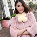 Women Winter Fur Scarves Genuine Rex Rabbit Fur Scarf Wrap 7 colors small Lovely Natural Fur Winter Neckerchief with ball