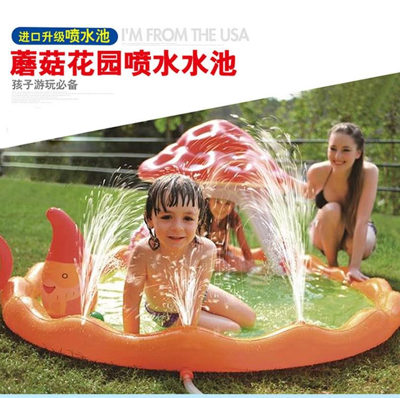 ФОТО Inflatable Mushroom garden fountain Paddling Pool/Kid game mobile swimming pool/Outdoor household folding bath Pool/Baby pool