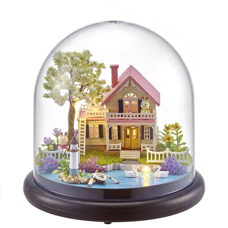 best website 019ef 176e5 Nueva B021 DIY Doll House mini kits de edificio modelo hecho a mano de  madera miniatura Dollhouse juguete polvo regalo de Navidad