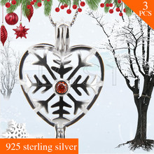 Latest style FREE SHIPPING Christmas gift 925 Sterling Silver Snowflake love Cage Pendants Necklace Pearls Charms 3pcs