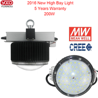 CREE Chip Mean Well Diver Can Dimming 2016 Model Warranty 5Years Bulkhead Lamp 23765LM 200W Led High Bay Light