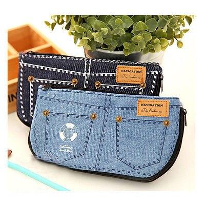 Fashion Jean Blue Women's Makeup Bag Storage Bag Denim Purse Phone Stationery Pencil Case animob a08 119 fashion wallet hand bag cell phone cosmetic storage bag deep blue
