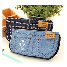 Bolsa de Almacenamiento de Bolsa de Maquillaje de Las Mujeres de moda Jean Azul Denim Monedero Caja de Lápiz de Escritorio Del Teléfono
