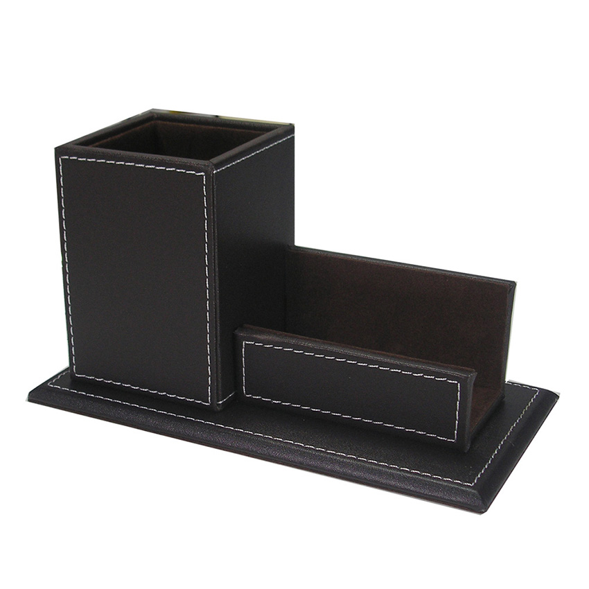 PU Leather Business Card Holder Stand with Pen Marker Holder Box ...