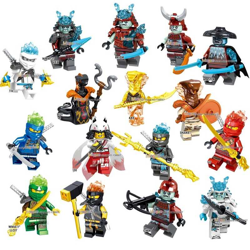 Gold Pyro Snakes Ice Akita Emperor Char General Vex Archer Sword Master Building Blocks Weapon  Toys Children