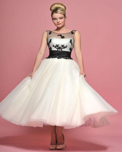 ce9f0c35516b Vestido De Noiva Scoop Abito Da Sposa Corto Senza Maniche In Chiffon Bianco  E Nero Appliques