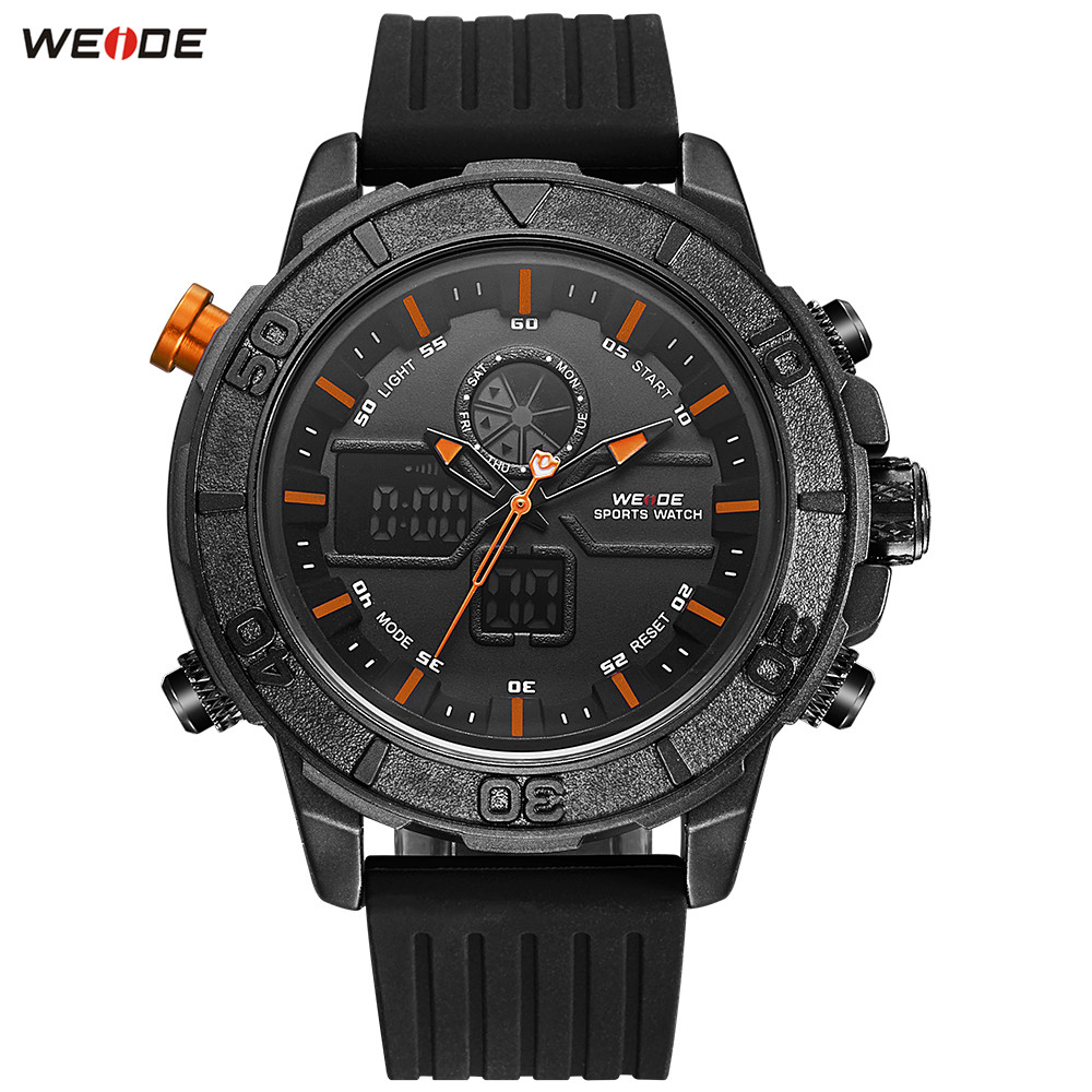 Fashion Top Brand WEIDE Black Orange Men Stopwatch Watch LED Sport Watch Men Digital Quartz Waterproof LED Wristwatches Relogios купить недорого в Москве