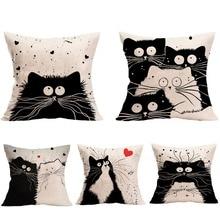 Popular cartoon cat flax householddecoration cushion pillowcase