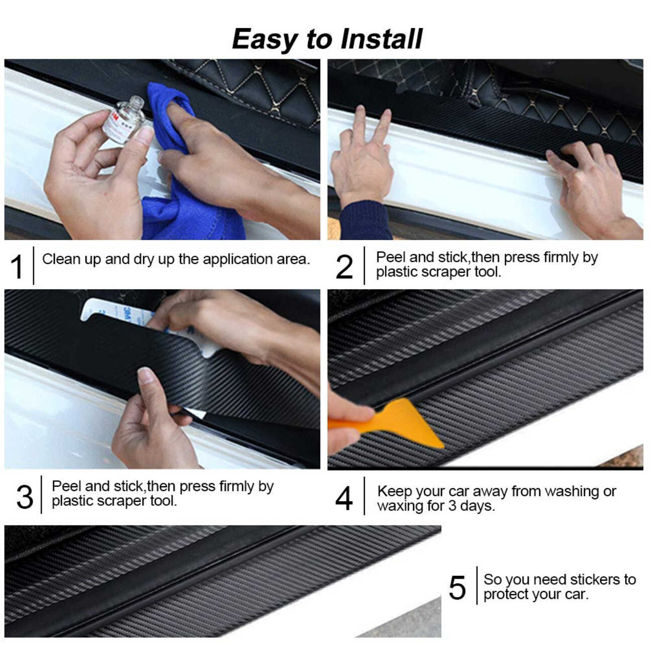 4pcs Car Door Sill Pedal Threshold Carbon Fiber Protect Stickers For Dodge charger nitro journey challenger caliber Car Styling