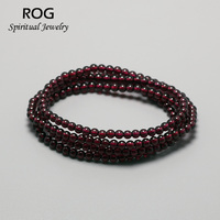 4mm Small Wine Red Natural Garnet Bracelet Multilayers For Women Bead Charm Bracelet Yoga Jewelry Brazaletes Pulseras Mujer