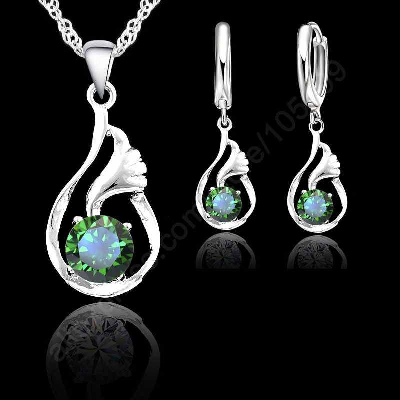 Luxury Elegant Shiny Cubic Ziconia 925 Sterling Silver White Gold Woman Wedding Pendant Necklace Earring Fine Jewelry Sets