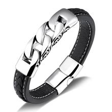 цены Punk Black Braided Genuine Leather Bracelet Mens Stainless Steel Bangle For Men Jewelry Vintage Charm Magnetic Buckle