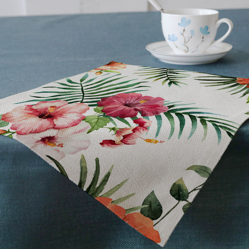 Tropical leaf Flamingo Printing West table Mat hot cotton linen home hotel Decoration table Tableware Mat Customization 32*45cm