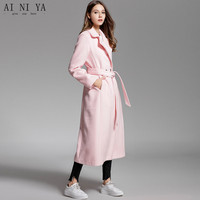 Autumn Winter Women Coat Double Breasted Pink Women Long Wool Coat Formal Office Business Jacket 50% Wool 50% Polyester