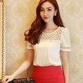 White Lace Blouse 2016 Women Beading Chiffon Blouse Shirts Fashion Female Tops Cool Clothing Peplum Blouse Plus Size 5XL 35
