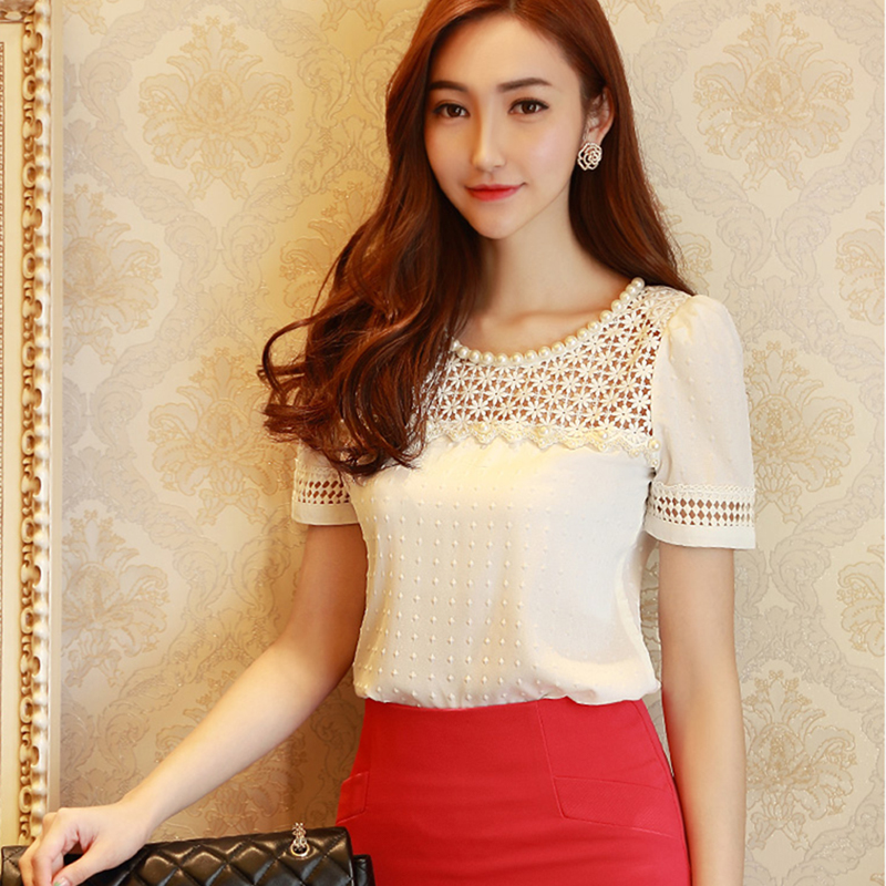 White Lace   Blouse   2018 Women Beading Chiffon   Blouse     Shirts   Fashion Female Tops Cool Clothing Peplum   Blouse   Plus Size 5XL 50