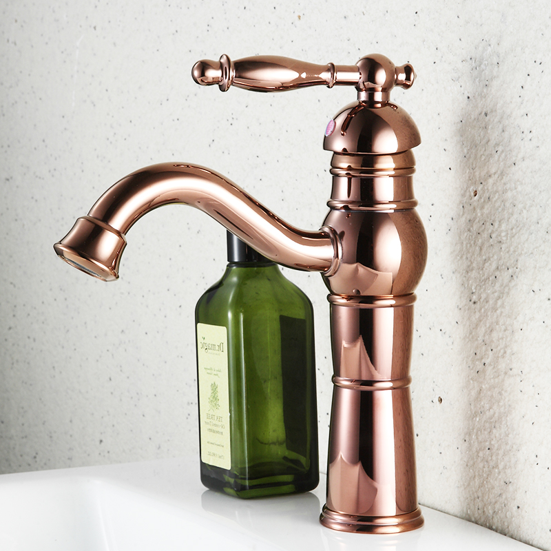FLG Bathroom Faucet Deck Mounted Bathroom Sink Single Level Basin Water Faucet Rose Golden Basin Single Handle Mixer Tap in Basin Faucets from Home Improvement