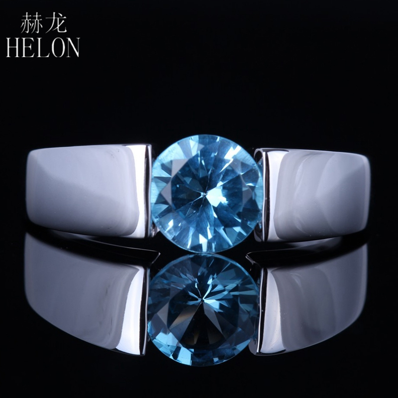 HELON Solid 14K White Gold Flawless Round 100% Genuine 1.147ct Blue Topaz Smooth surface Anniversary Wedding Fine Jewelry Ring контроллер аудиопроцессор behringer подавитель обратной связи fbq1000 feedback destroyer